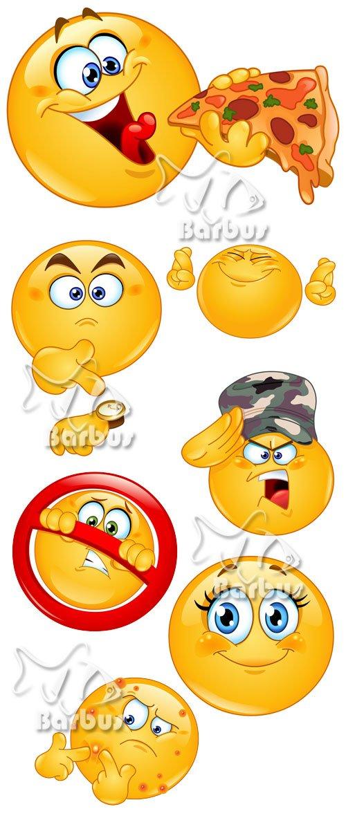 Emoticon showing 2 / Веселые колобки - смайлики 2