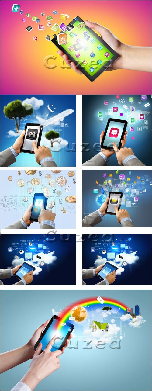 Смартфоны в  руках / Smartphones in the hands - stock photo