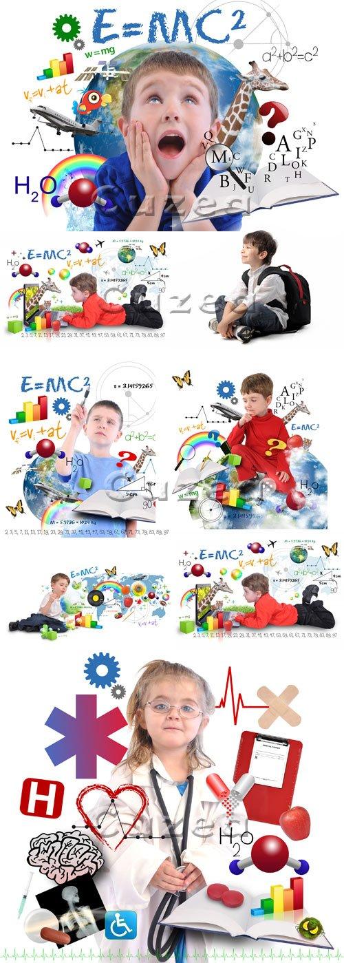 Дети и школьное предметное обучение / Children in the school - stock photo