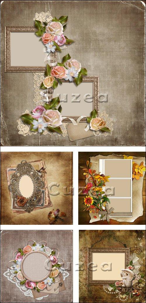 Рамки с цветами / Frame and flowers - stock photo