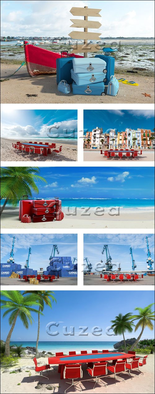 Бизнес конференция под пальмами / Palm beach business meeting - stock photo