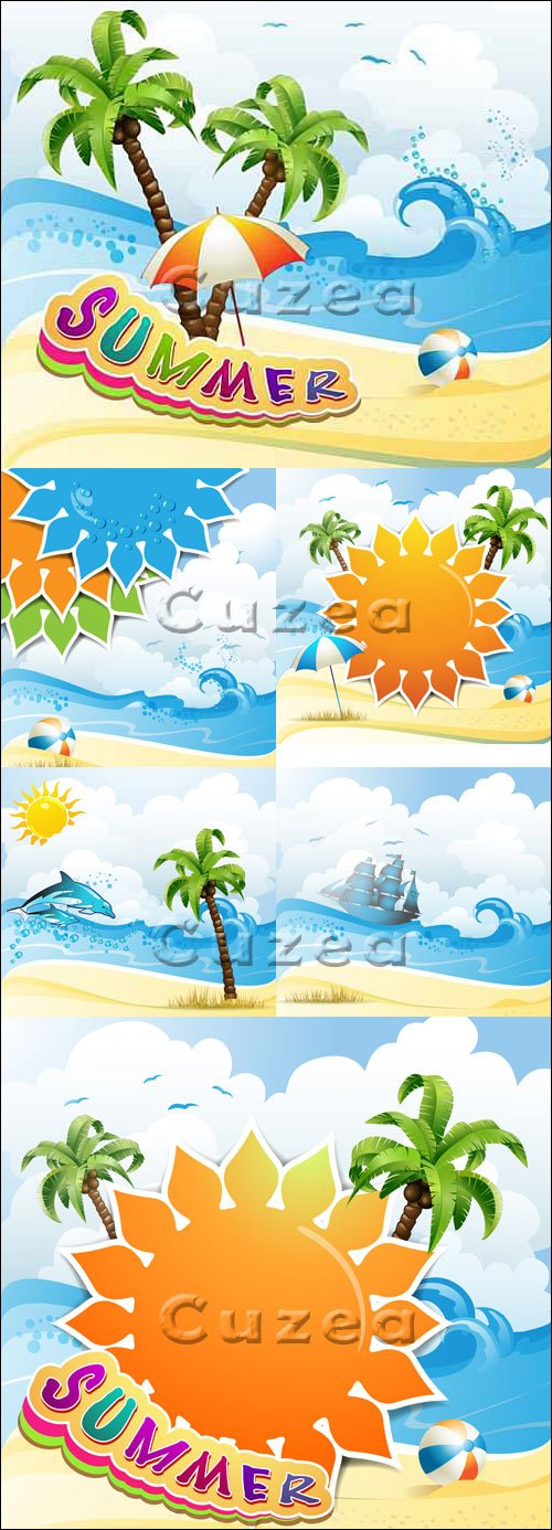 Летний отдых на морском побережье  - вектор / Summer rest on the sea - vector stock