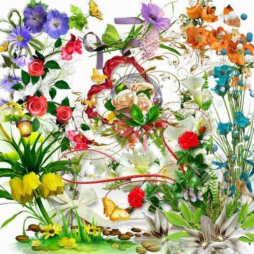 Клипарт на прозрачном фоне - Цветочный декор