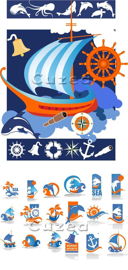 Корабль и иконки путешествий в векторе / Ship and summer travel  icons - vector stock