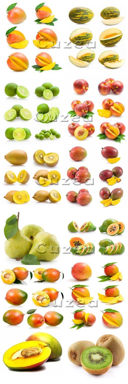 Различные фрукты на белом фоне / Different fruit on white background - stock photo