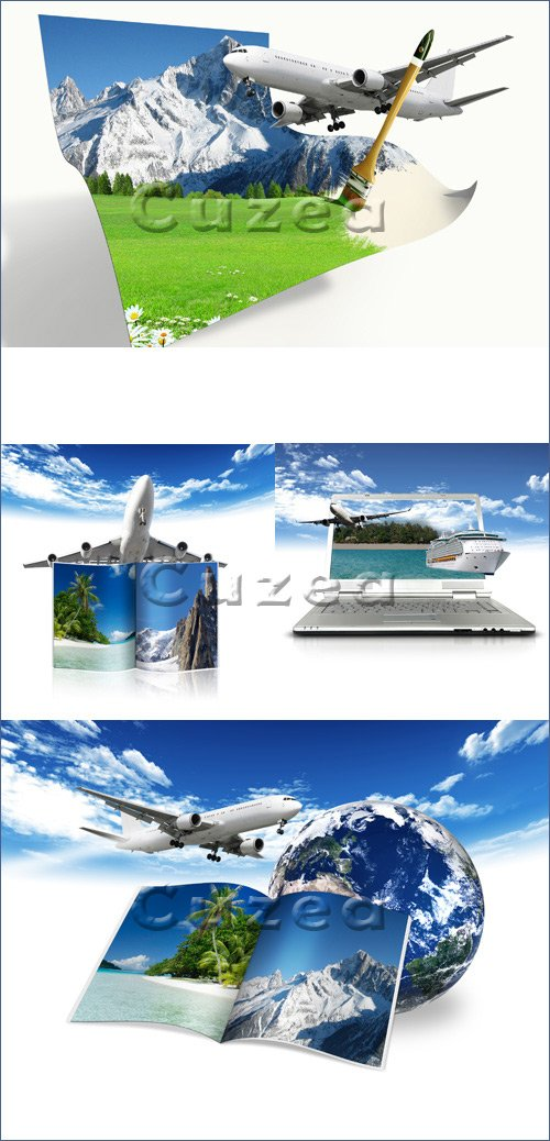 Креативный клипарт авиа путешествий / Travel by plane - stock photo