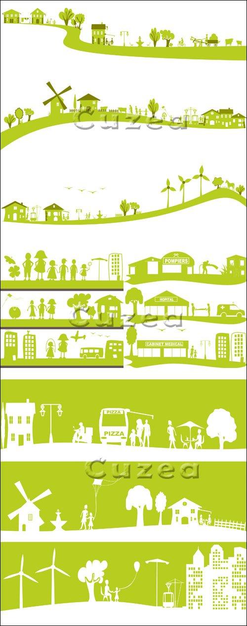 Векторные строения в зеленом цвете / Modern Building in green - vector stock
