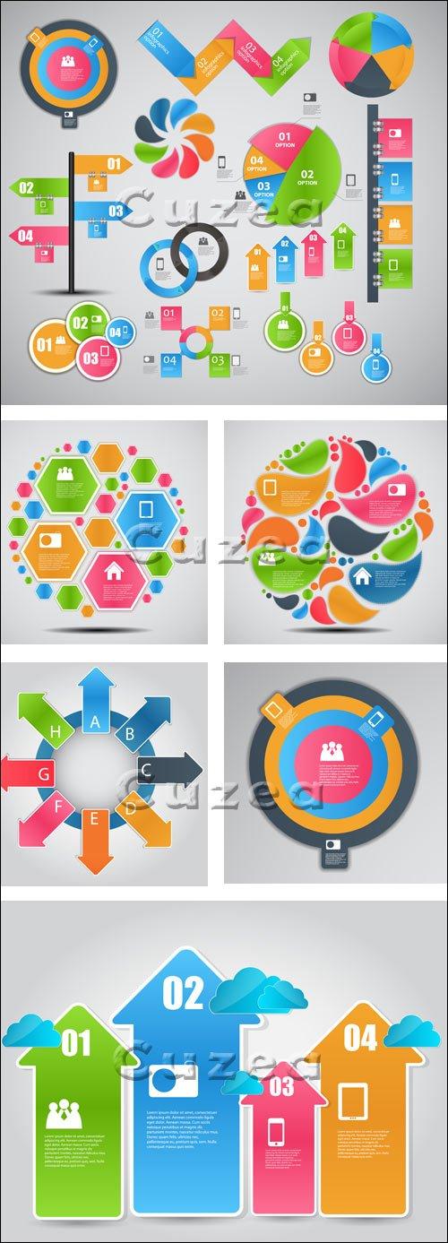 Инфографика, часть 51 / Infographics design template with numeration and web elements, part 51 - vector stock