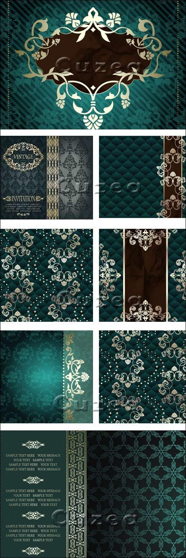 Винтажные зелёные фоны с золотыми элементами / Vintage green backgrounds with gold elements - vector stock