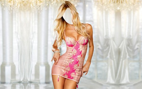 Шаблон для фото - Девушка в ярком платье
