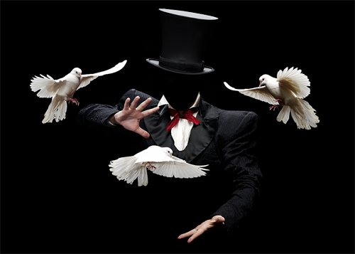Мужской шаблон - Фокусник-иллюзионист с голубями