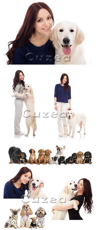 Девушка и собаки на белом фоне / Woman and dogs on white backgrounds - Stock photo