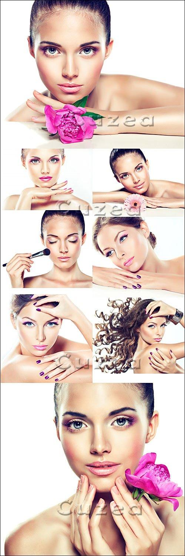 Девушка с гламурным макияжем и цветком / Girls with make up and flower - Stock photo