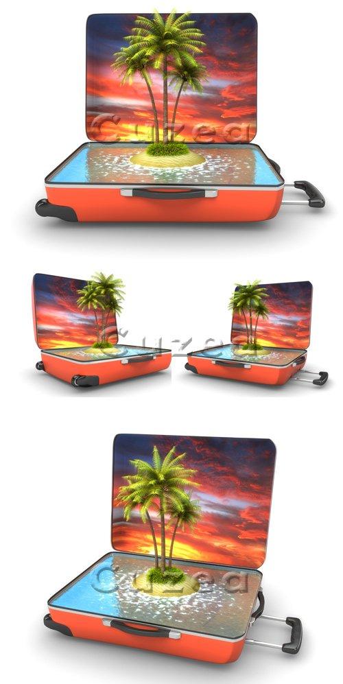 Открытый чемодан с тропическим островом | Open suitcase with tropical island - stock photo