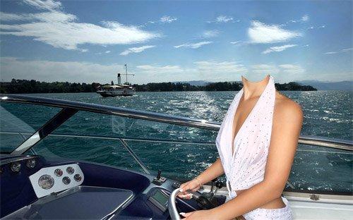 Шаблон для photoshop - Девушка на море за рулем катера