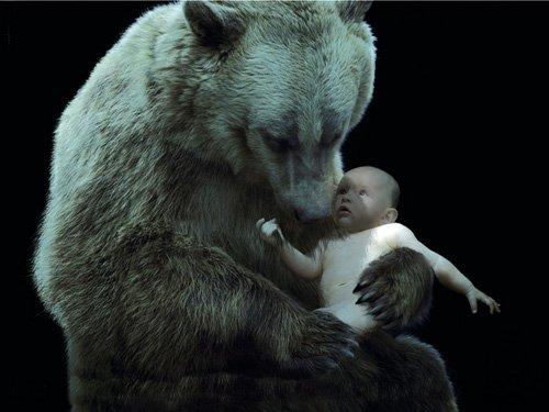 Шаблон для фотошопа - Ребенок и медведь
