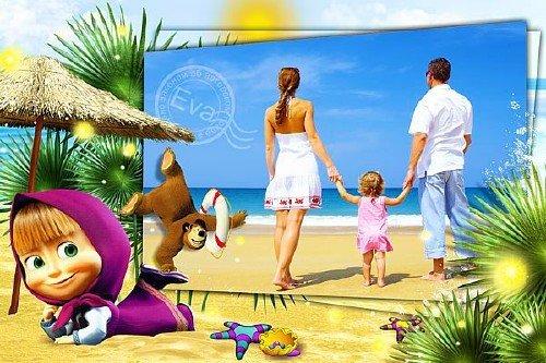 Детская рамка для фотошопа - Маша и Медведь на море