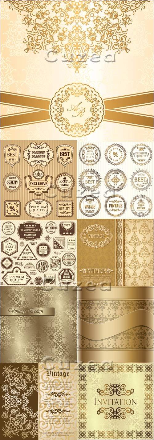 Винтажные пригласительные и лэйблы в векторе / Vintage invitations and labels - vector stock