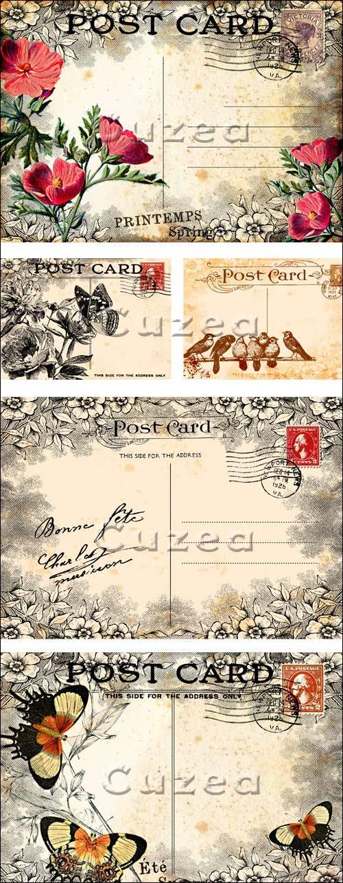 Винтажные открытки в векторе / Vintage post cards with flowers in vector