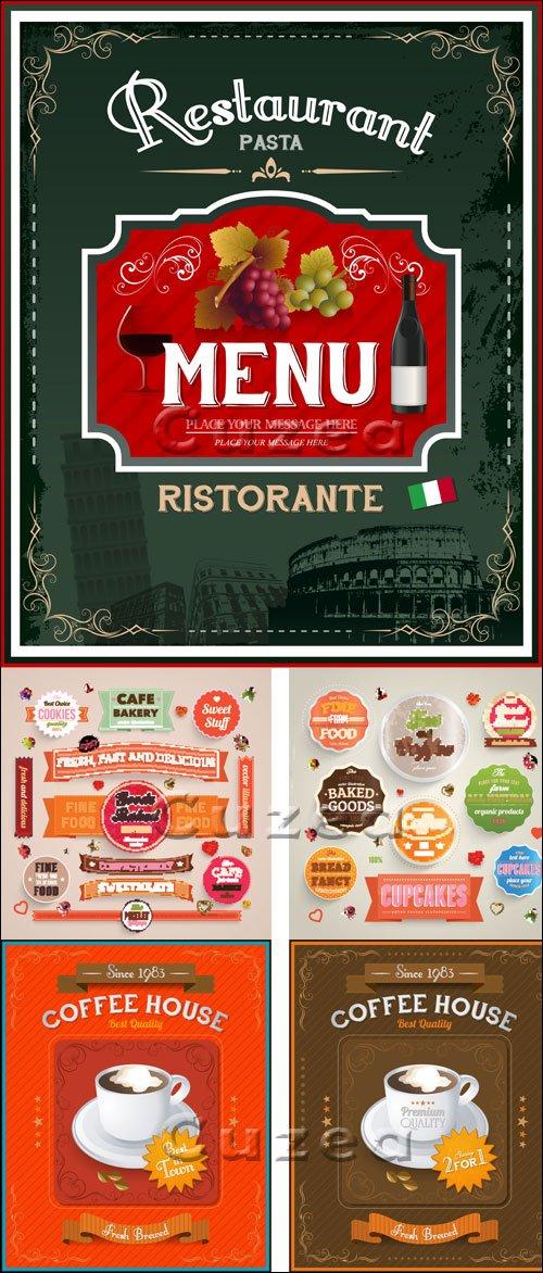 Винтажные меню и продовольственные стикера в векторе / Vintage italian restaurant menu and food labels - vector stock