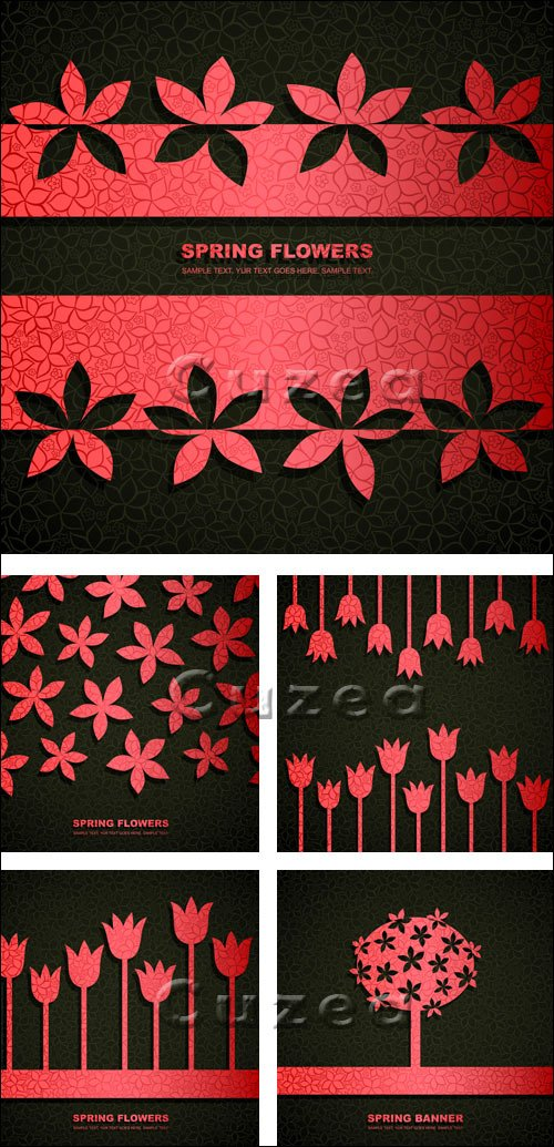 Векторные фоны в красном и чёрном тоне / Black and red flower  background in vector