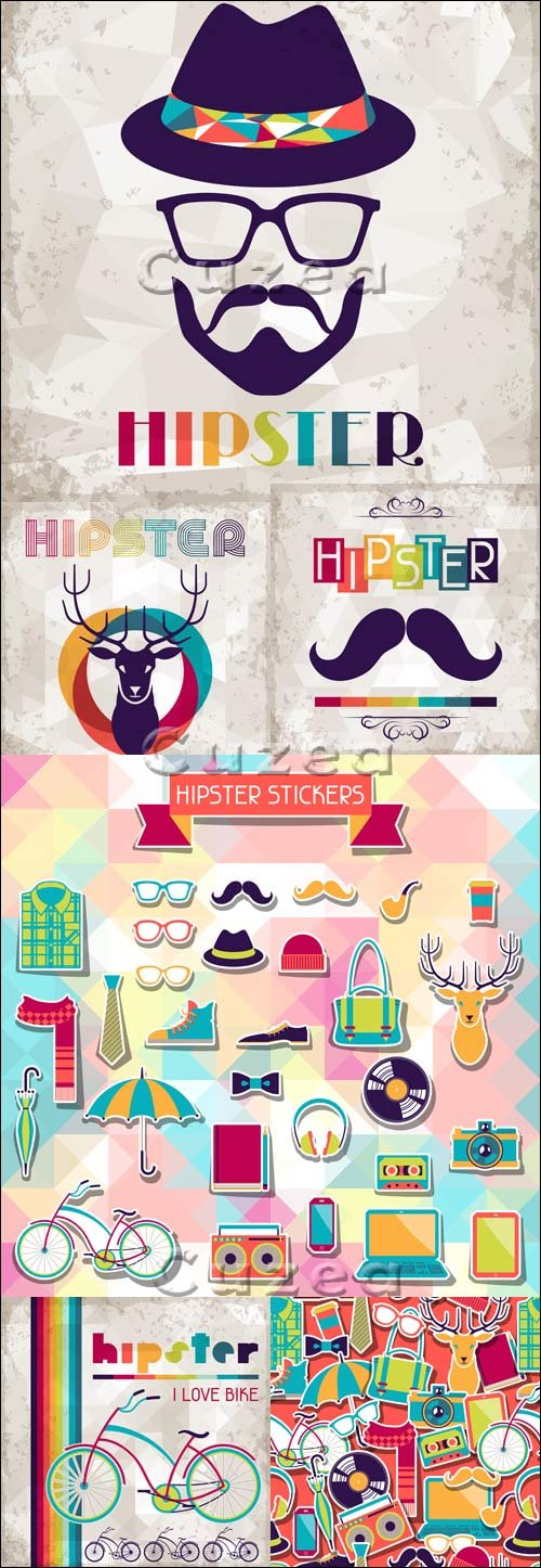 Векторные фоны в ретро стиле, 1 / Hipster background in retro style, 1 - vector stock