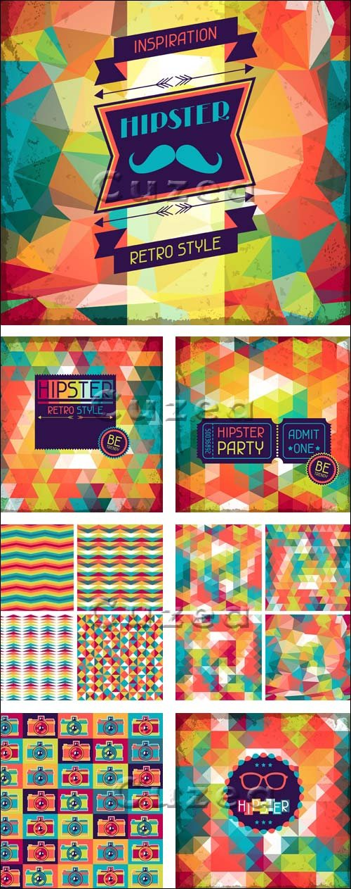 Векторные фоны в ретро стиле, 2 / Hipster background in retro style, 2 - vector stock