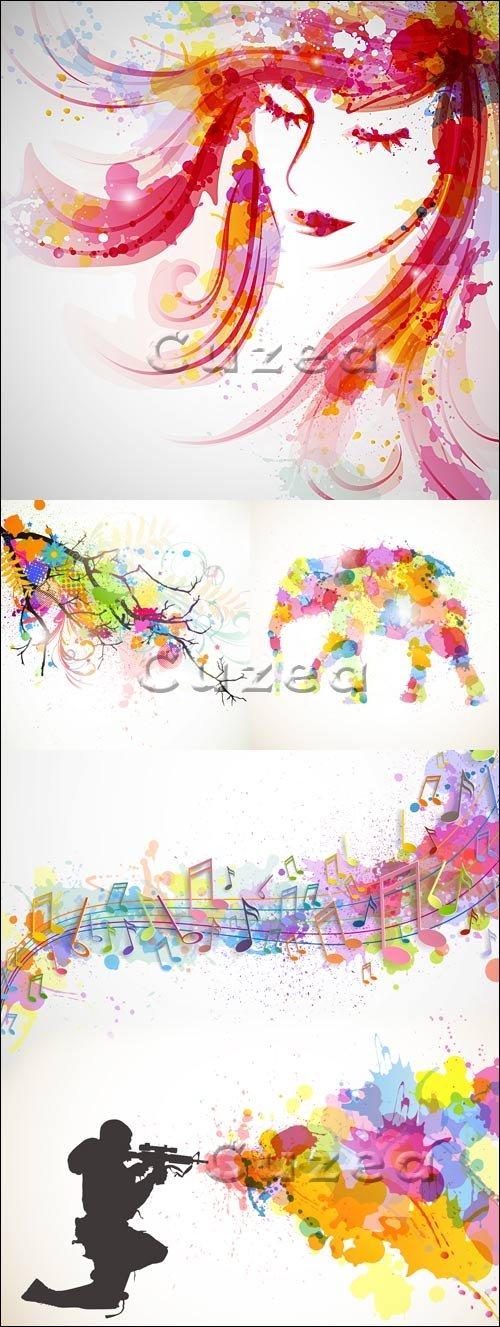 Векторные фоны с цветными брызгами / Vector backgrounds with colourful splashes
