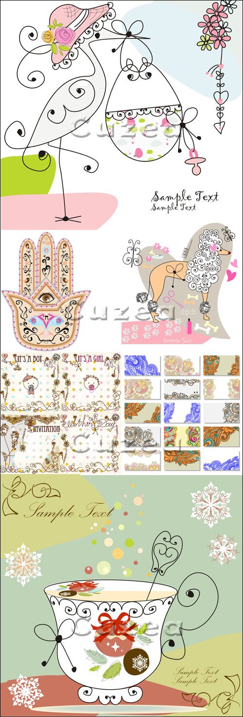 Винтажные фоны и элементы / Vintage backgrounds and elements - vector stock