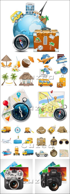 Иконки и элементы путешествий в векторе / Travel elements and icons in vector stock