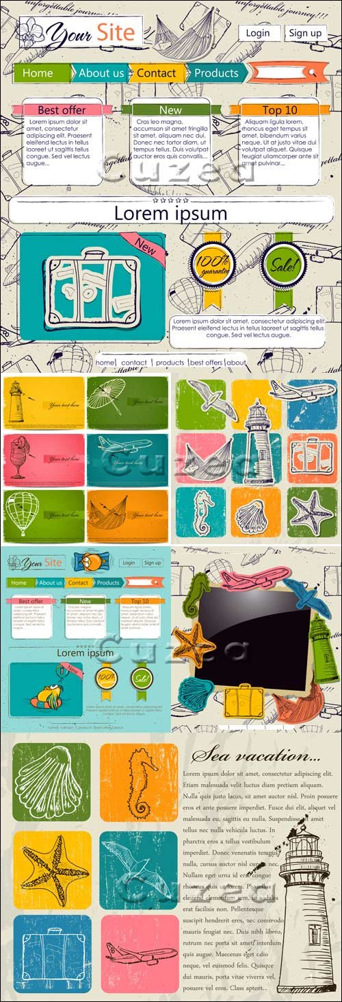 Шаблон веб-сайта со старинными элементами путешествия / Website template with vintage travel elements - vector stock