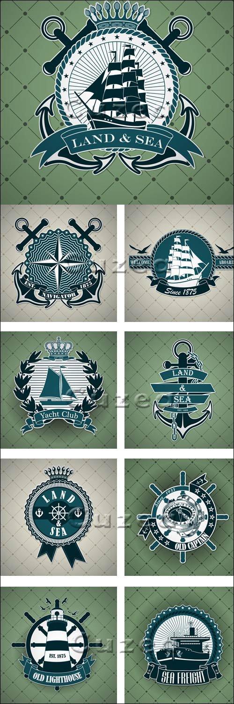 Винтажные стикера с морской тематикой в векторе / Vintage label with a nautical theme - vector stock