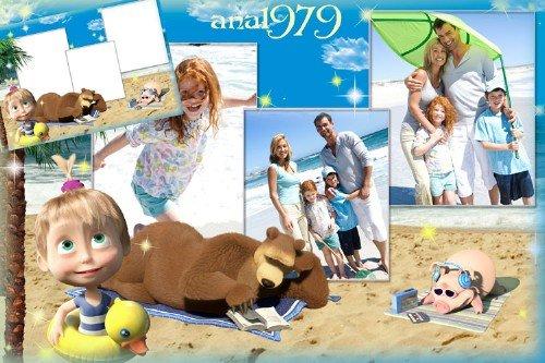 Рамка для фотошопа - На пляже с Машей