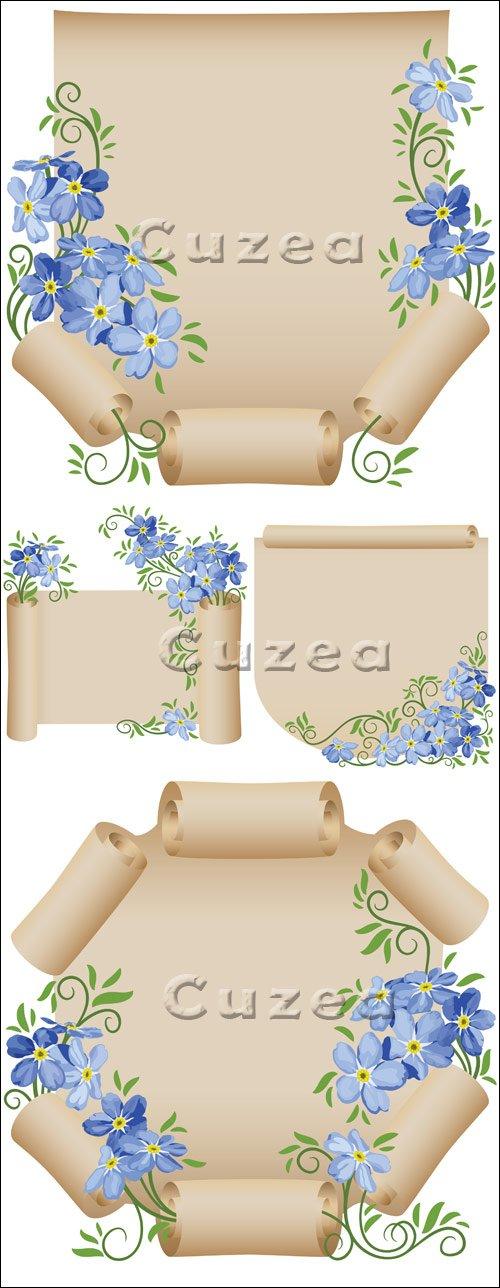 Винтажный свиток с цветами в векторе / Vintage scroll with flowers - vector stock
