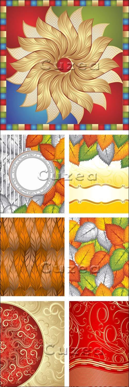 Векторные фоны с золотыми элементами, 14 / Vector background with gold elements, 14