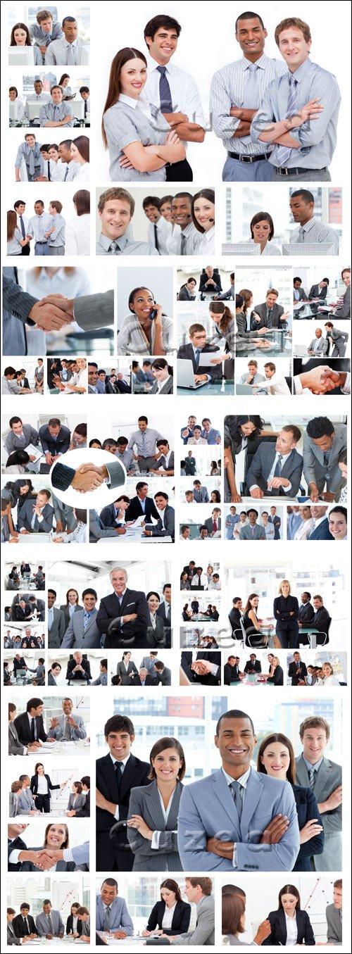 Коллаж позирующих бизнес людей / Collage of business people posing - stock photo