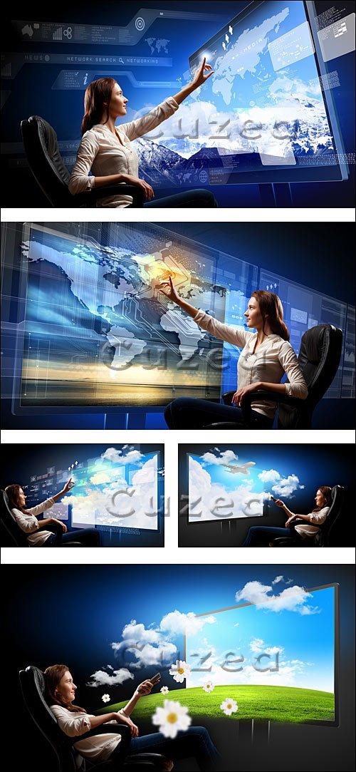 Молодая девушка  и современные технологии / Young woman pushing icon - stock photo