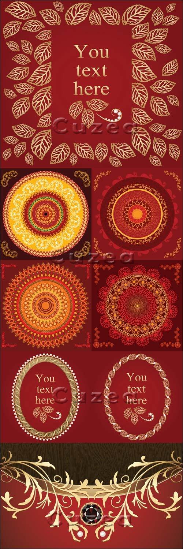 Красные фоны с золотым орнаментом в векторе / Red backgrounds with gold elements - vector stock