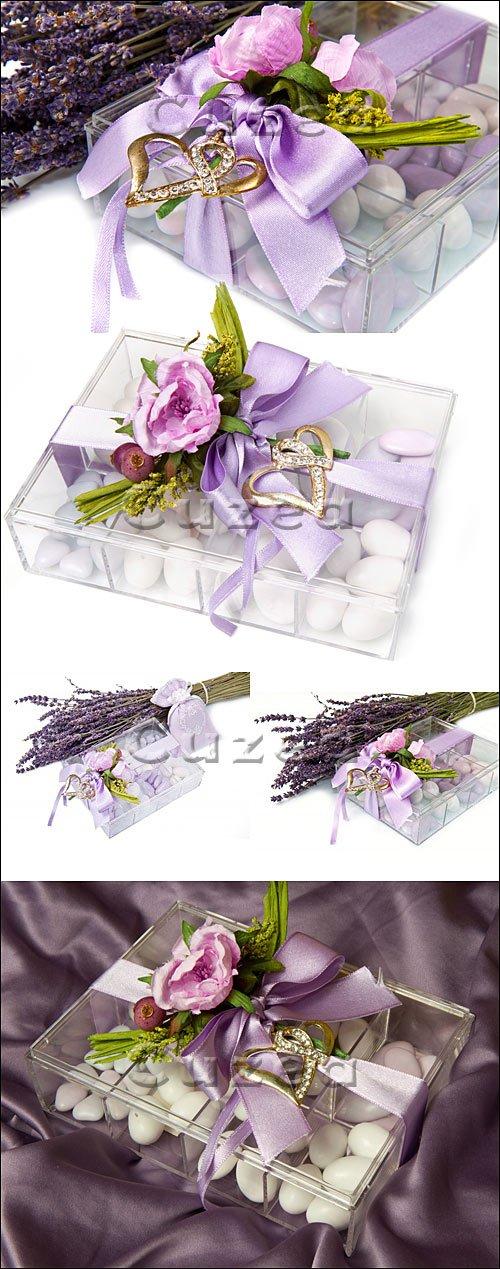 Лаванда, коробка конфет и золотые сердца / Lavender, candies and heart of gold - stock photo