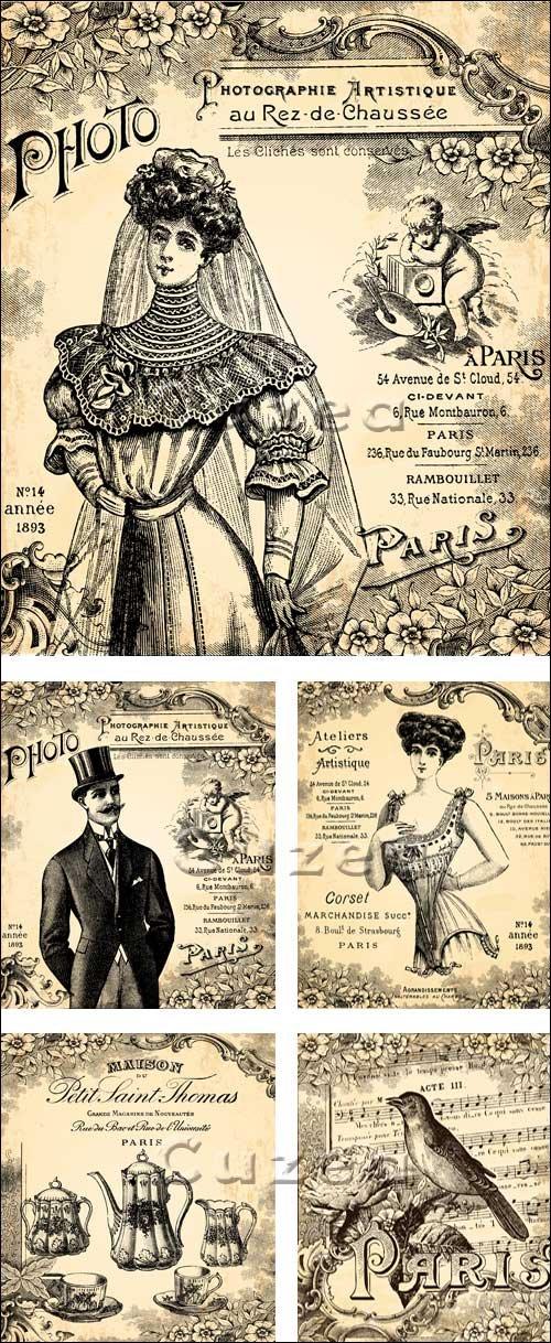Старинные фото постеры в векторе / Retro photo posters in vector