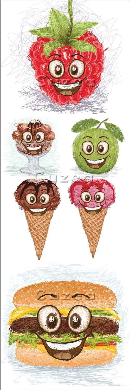Смешные фрукты, мороженное и гамбургер в векторе / Fanny fruit,  ice-cream and hamburger - vector stock