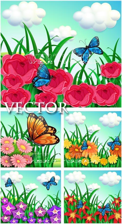 Цветочные фоны с бабочками / Flowers and butterflies - vector clipart