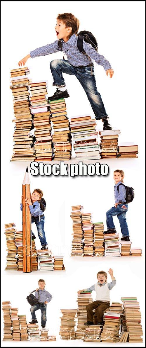 Мальчик с книжками / Boy with books - Raster clipart