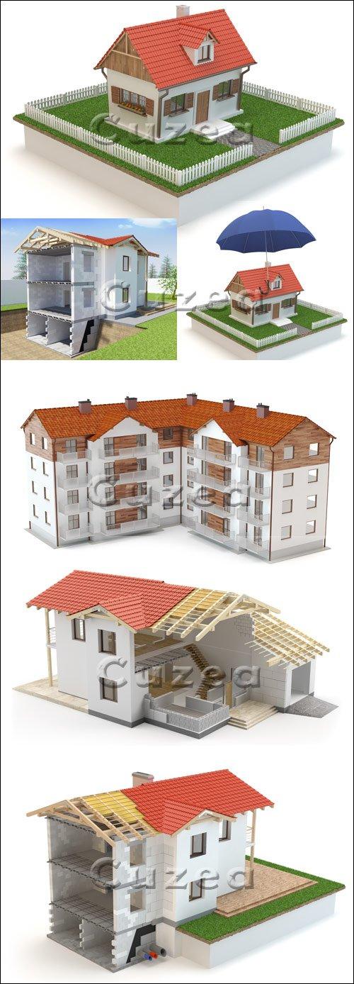 Строительство домов в 3Д / Construction House 3D - stock photo