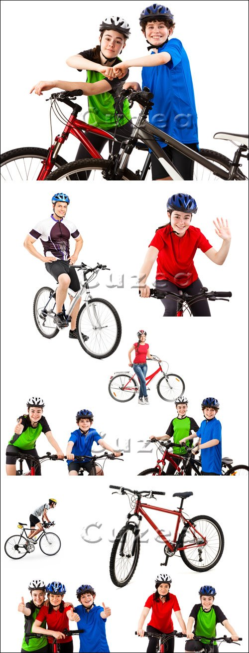 Молодые велосипедисты на белом фоне / Young cyclists on a white background - stock photo