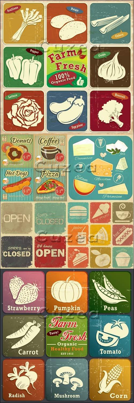 Винтажные постеры с овощами и фруктами в векторе / Vintage posters of food and fruit in vector