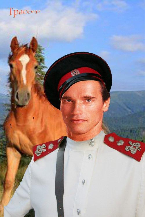 Шаблон мужской для фотошопа - Казак с боевым конем