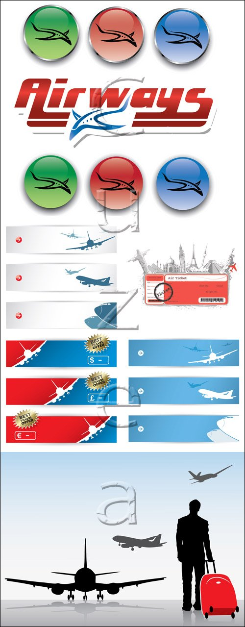Туристические баннеры с самолётами и элементы путешествий / Travel banners, elements and plane in vector, part 5