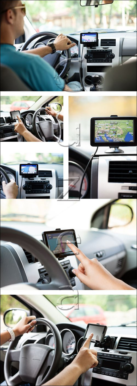 Навигация в машине / Navigation in the car - stock photo