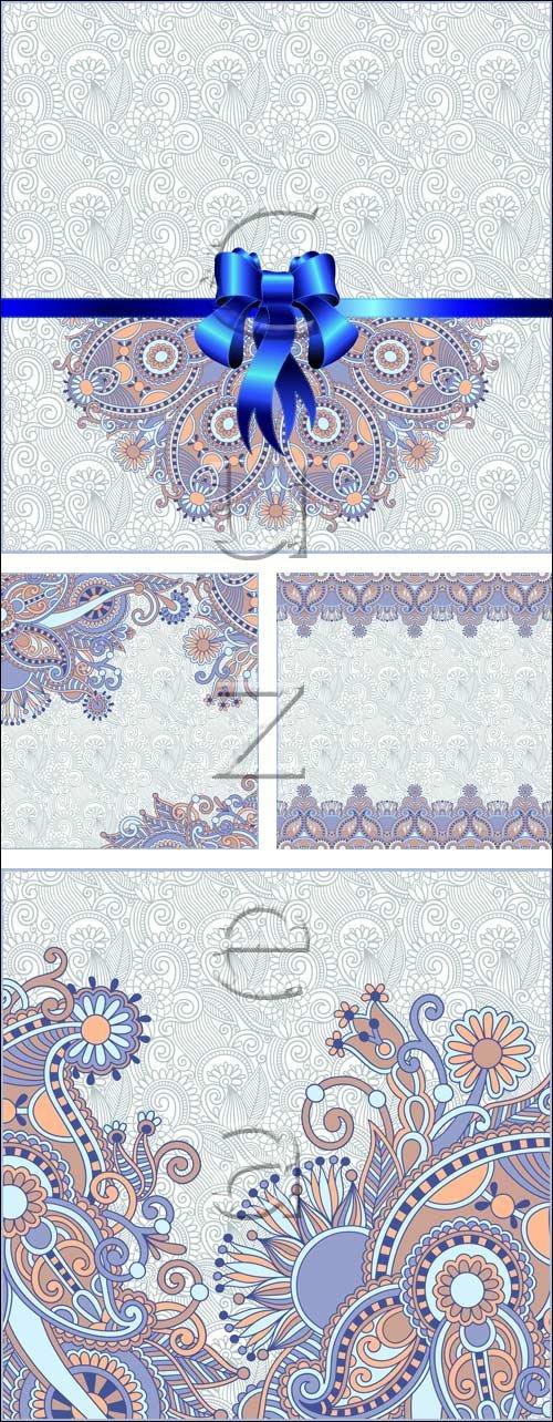 Винтажные фоны с голубой лентой / Vintage background with blue ribbon - vector stock
